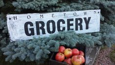 GROCERY SIGN – Kimber Creations Entrance Sign, Kitchen Signs, Home Signs, Vintage Kitchen, Farm House, Wood, Woodwind Instrument, Timber Wood, Trees