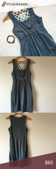 "{Anthropologie} Allihop Cotton Dress Adorable Anthropologie Allihop cotton dress. Side zipper. Side slit pockets. Lined with cute polka dot pattern. 100% cotton. Color: Steel gray/blue. 17"" pit to pit. 14"" flat across waistband. 38"" shoulder to bottom of hem. Excellent condition. Anthropologie Dresses Midi"