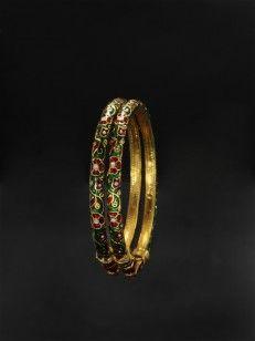 Green enamel bangles with floral design