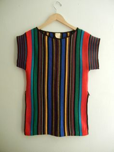 SALE // Vintage 70s Striped Acrylic Knit Tunic by papersunvintage