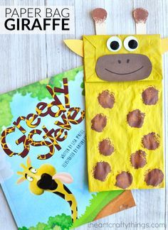 This paper bag giraffe craft makes a great book-inspired craft. Kids can play with their craft as a puppet after making it. Fun preschool craft, animal craft and zoo craft for kids.