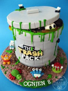 Children's Birthday Cake Theme: The Trash Pack Technique: Fondant Flavor: Nugat Chocolate Gross Cakes, Trash Pack Party, Lincoln Birthday, Moose Toys, Kids Party Themes, Specialty Cakes, Cakes For Boys, No Bake Cake, Eat Cake