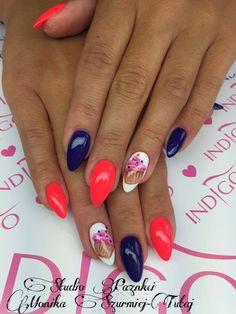 by Monika Szurmiej Tutaj Indigo Young Team  :) Follow us on Pinterest. Find more inspiration at www.indigo-nails.com #nailart #nails #indigo #red #cupcake #deep #navy
