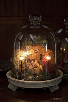 Bell jar idea with lights inside | Wouldn't this be nice as a Christmas Nativity Scene.