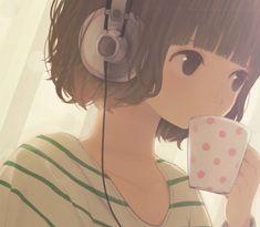 Anime Manga Mädchen .. Kopfhörer ... Musik hören ... kurze Haare ... Tasse mit Punkten ... verträumt ...