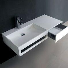 Meuble salle de bain 90 cm, SandStone Artificial Stone, Wall Mounted Vanity, Cast Stone, Bathroom Inspiration, Basin, Office Desk, Drawers, Furniture, Home Decor