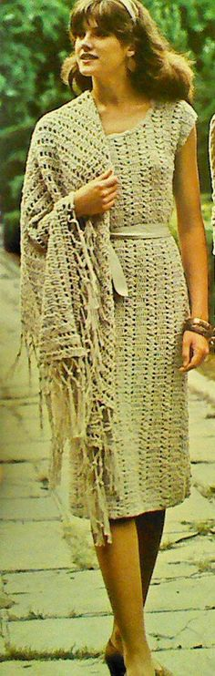 Vintage Crochet Dress with Matching Triangular by MAMASPATTERNS, $3.50
