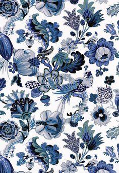 Schumacher - Cambourne Porcelain Blue Multi Linen Cotton Textile Arts
