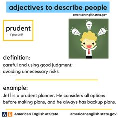 adjectives to describe people: prudent
