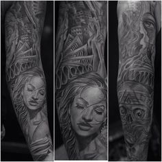 Chicano styled sleeve girl tattoo by Jose Lopez
