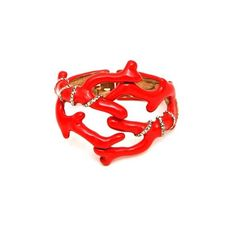 Oscar De La Renta 'Coral' Embellished Cuff (13 210 UAH) ❤ liked on Polyvore featuring jewelry, bracelets, red, red jewelry, cuff bangle, red bangles, oscar de la renta and oscar de la renta jewelry