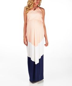 Look what I found on #zulily! PinkBlush Pink & Navy Chevron Maternity Maxi Dress #zulilyfinds