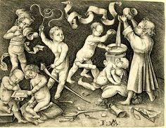 Israhel van Meckenem--Children playing several games; seven boys with toys; a scroll without text is placed above; second state.  c. 1480-90 Engraving