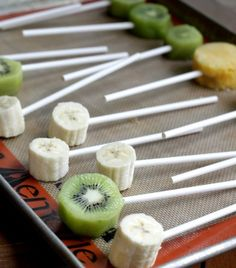 cut fruit to shape, put on a stick and freeze solid.  Make magic shell to dip in, eat or freeze again.  Optional:  roll in nuts or toffee while still soft.