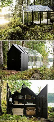 This says it's a green house, but could you imagine it being a get-away cabin deep in the woods of Maine!  I want that!