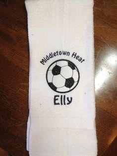 Personalized soccer towel, embroidered on Etsy, $10.00
