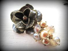 Antique Brass Flower Pin/Brooch with Taupe Crystal and Glass Pearls  #handmade  #thecraftstar  $17.00