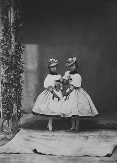 Princess Helena and Princess Louise, April 7th 1859 [in Portraits of Royal Children Vol.3 1858-1859] | Royal Collection Trust