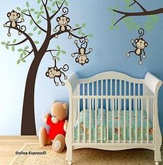 Monkey Tree Jungle Nursery Wall Stickers Paper Cheeky Graphics Childrens Bedroom