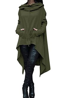 Womens Irregular Hem Double Slit Loose Long Sleeve Hooded...