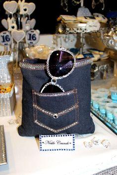 Denim & Diamonds Sweet 16 Candy Table Source by toyashall Diamond Theme, Diamond Party, 40th Birthday Parties, Sweet 16 Birthday, 21 Birthday, Birthday Board, Birthday Ideas, Diamonds And Denim Party, Denim Decor