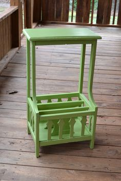 Vintage Shabby Chic Wood Table-Green Recycle