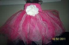 Pink and white tutu with flower