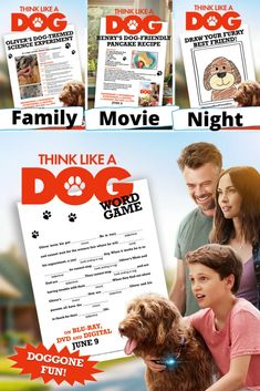 Free Printable Think Like A Dog Activities  Family movie night fun featuring Think Like A Dog printables, recipes and activities. #ThinkLikeADog #familymovienight #movienight #freeprintableactivities Movie Night Party, Family Movie Night, Family Movies, Silly Words, Dog Words, Printable Word Games, Free Printables, Drawing Activities, Dog Activities