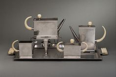 Kettle on stand with burner Peter Müller-Munk (American (born Germany) Berlin 1904–1967 Pittsburgh, Pennsylvania)
