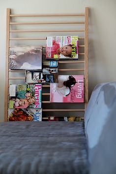 this is part of an old drop-side crib or an older, broken-down, un-donateable crib. It could be leaned up against any wall or desk. Keep current magazines on it.