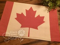 Canadian Flag Placemat of Natural Burlap or by EuroCountryChic
