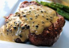 Fillet with Peppercorn Sauce - This was delicious! I adjusted the flavor to my liking. I thought both the booze and the peppercorns were a bit strong, so I double the other ingredients around it. Seriously delicious meal.