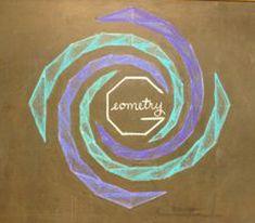 Sixth Grade Geometry Chalkboard Drawing - A Waldorf Journey Waldorf Math, Waldorf Curriculum, Waldorf Education, Chalkboard Drawings, Geometric Drawing, Math Art, Homeschool Math, Teacher Blogs, Sixth Grade