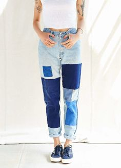Denim patchwork cuffed jeans