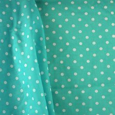 Quilting Cotton Print Fabric, White Polka Dots on Capri Blue, half yard * Sold by the half yard * Smooth, medium weight, quilting cotton print *