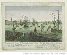 Seconde Partie de la Ville et du Port de Bordeaux prise du Chateau Trompette : gravé d'après le tableau original appartenant au Roy, et fais...