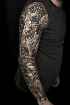Tattoo Sleeve Men Arm Skull Drugs 44 Ideas For 2019 Angel Sleeve Tattoo, Vintage Tattoo Sleeve, Tiger Tattoo Sleeve, Mandala Tattoo Sleeve, Arm Sleeve Tattoos, Sleeve Tattoos For Women, Tattoo Sleeve Designs, Forearm Tattoos, Body Art Tattoos