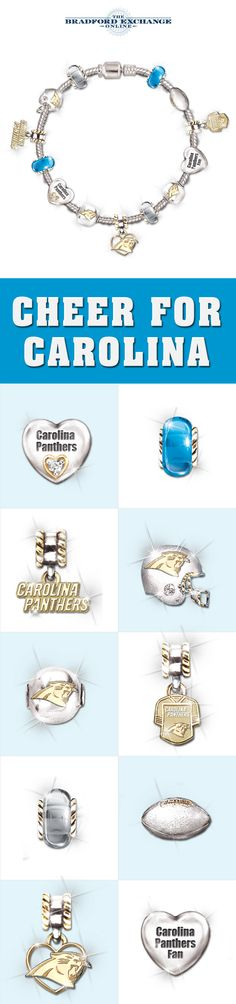 Score true NFL style with this Carolina Panthers charm bracelet! This officially-licensed jewelry design boasts 12 distinctive charms to express your Panthers pride beautifully. Super Bowl Xxxviii, Football Stuff, Tar Heels, Ny Yankees, Carolina Panthers, Chicago Bears, Cave, Swarovski Crystals