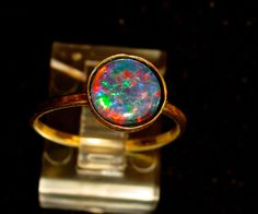 Gold Filled Natural Opal Engagement or Friendship ring.Genuine Australian Opal Triplet Gemstone.AAA quality 8mm Opal.14/20 Gold Filled ring