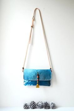 Hand Painted Canvas Crossbody Bag Convertible Clutch Bag