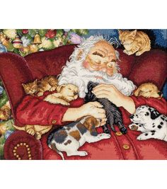Gold Collection Santa's Nap Counted Cross Stitch Kit ... we have this in Christmas cards!