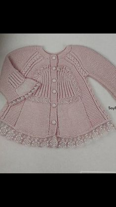 """Yogurtcu """"This post was discovered by Sib"""" Baby Knitting Patterns, Knitting For Kids, Knitting Designs, Baby Patterns, Hand Knitting, Dress With Cardigan, Baby Cardigan, Crochet Baby Clothes, Sewing Clothes"""