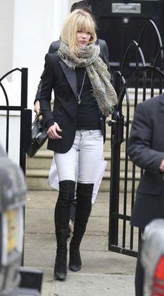 White Jeans/Black Boots/Black Blazer/Scarf