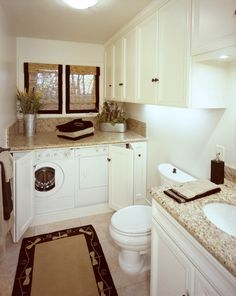 Classic Chic Home: Lovely Laundry Rooms. Beautiful way to dress up a laundry room that is in your bathroom! Laundry In Bathroom, Laundry Mud Room, Home, Washer And Dryer, Guest Bathroom, Hidden Laundry, Bathroom Photos, Downstairs Bathroom, Laundry
