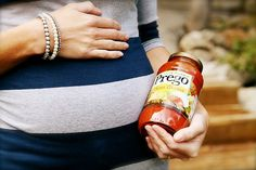 cute pregnancy announcment picture. This would be great for my love of cooking as well...funny and cute at the same time.
