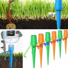 How To Use: Insert the control valve into the Waterer. Take a Plastic bottle of inch and fill it with water. Install the plant waterer to the f Water Irrigation, Drip Irrigation System, Control Valves, Control System, Automatic Watering System, Belle Plante, Enjoy Your Vacation, Self Watering, Water Flow