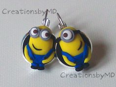 minions earrings polymer clay fimo handmade by CreationsbyMD