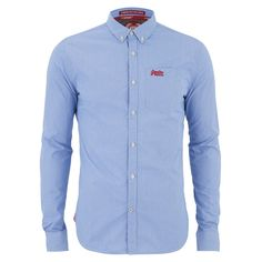 Superdry Men's London Button Down Shirt - Ink Gingham (218.395 COP) ❤ liked on Polyvore featuring men's fashion, men's clothing, men's shirts, men's casual shirts and blue