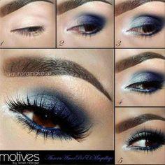 Blue shadow for brown eyes. @MaquillateconAurora