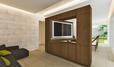 Suport Tv, Tv Wall Design, House Design, Tv Stand Room Divider, Wooden Partitions, Entertainment Furniture, Contemporary House Plans, Modern Bathroom Decor, Deco Furniture